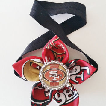 San Francisco 49ers Headband, Toddler and Baby 49er Headband, NFL Headband, Football Hair Accessory