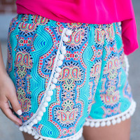 Cheer Me On Shorts, Teal