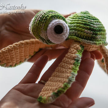 cotton Crochet Sea Turtle Handmade Amigurumi Waldorf Photoshoot