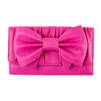 Hot Pink Pebbled Faux Leather Wallet with Bow