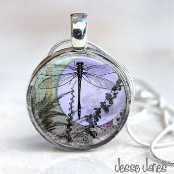 MAGNETIC Necklace Interchangeable - DRAGONFLY MOON - Includes snake chain with 6 toppers as shown