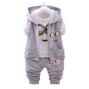 Spring/Autumn Baby Boy Clothes Minion Suits Infant/Newborn Clothes Sets Kids Vest+T Shirt+Pant 3Pcs Sets Children V30