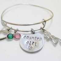 Country Girl Bracelet~Southern Girl Pride Jewelry,Country Gifts for Woman,Alex and Ani Inspired,Browning Deer Charm Bracelet,Girlfriend gift