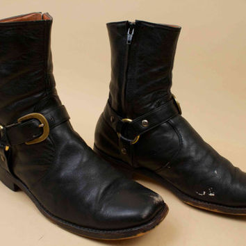 60s 70s Vtg rare Black Leather HARNESS Moto Biker Boots / Custom Stash Pocket Buckle Monk Chelsea Rock N Roll Mens 9 [Wms 10.5-11]