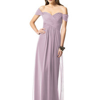 Dessy Collection 2844 Floor Length Off the Shoulder Chiffon Bridesmaid Dress
