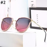 GUCCI 2019 new women's large frame color film polarized sunglasses #2