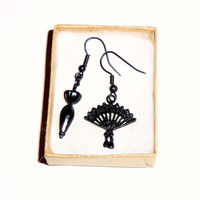 Black Dangle Victorian Earrings