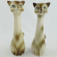 "Siamese Cats Salt and Pepper Shakers Mid Century MCM 6"" Kittens Set of 2"