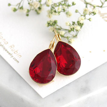Red Earrings, Red Burgundy Earrings, Red Drop Earrings, Red Ruby Earrings, Bridesmaids Earrings, Christmas Gift, Gift For Her, Ruby Earrings