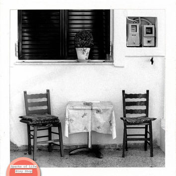 Square printable, Greece digital download, black and white film, table & chairs, travel photography, vintage, darkroom, wall art, home decor