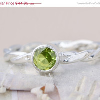 Back To School Sale CZ Birthstone Ring - Green Gemstone Ring - Peridot CZ - August Ring - Stacker Gemstone Ring - Birthstone Stacker Ring -