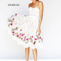 Sherri Hill 21229 Tea Length Lace Prom Dress
