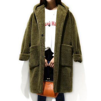 Lamb Wool Coat Women Cocoon Winter Jacket Women Loose Hooded Woolen Coat Thick Long Parka Army Green Coats Abrigos Mujer C2810