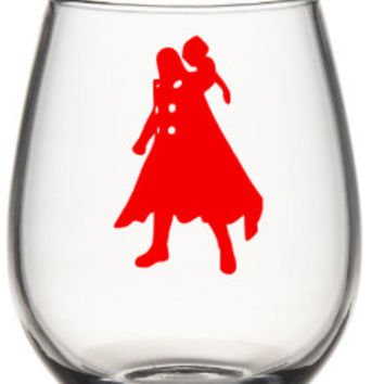 Thor Wine Glass, Marvel Wine Glass, Super Hero Wine Glass