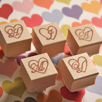 Hand Carved Mounted Heart Monogram Stamp