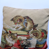 Vintage Steinwinder Needlepoint Cat Pillow 1980s