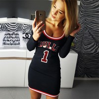Fashion Multicolor Stripe Letter Print Long Sleeve Bodycon Mini Dress