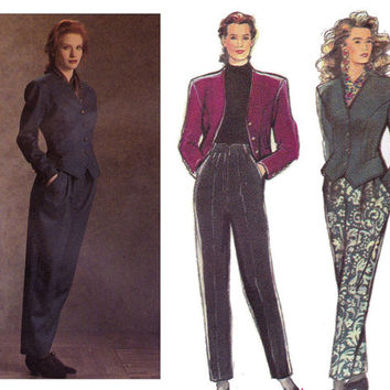 80s Womens Jacket & High Waist Pants Vintage sewing pattern Style 1618 Size 10 Waist 25 inches UNCUT FF