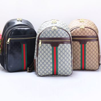 """GUCCI"" Casual Sport Laptop Bag Shoulder School Bag Backpack Black"