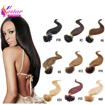 Hot Selling Fusion Prebond U Tip Keratin Hair Extension 0.5g strands Nail Hair Extensions 100s pack 18 Colors U Tip Hair Human