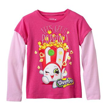 Shopkins Poppy Corn Popcorn Mock-Layer Tee - Girls