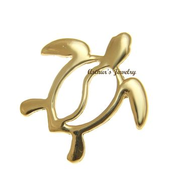 SOLID 14K YELLOW GOLD HAWAIIAN HONU TURTLE SLIDE PENDANT 20.60MM