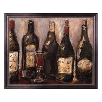 ''Wine Bar with French Glass'' Framed Canvas Wall Art by Nicole Etienne