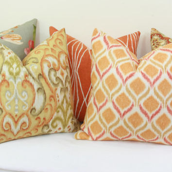 "Orange spice geometric decorative throw pillow cover. 18"" x 18"". 20"" x 20"".22"" x 22"". 24"" x 24"".26"" x 26"". lumbar sizes"