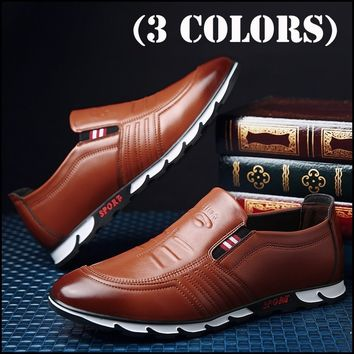 New Men's Fashion Business Casual Leather Shoes Comfortable Driving Shoes Flat Loafers (3 Colors)