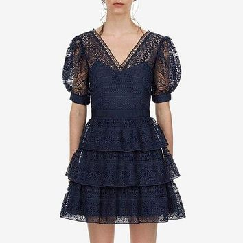 Tiered Blue Lace V Neck Puff Sleeve High Waist Hollow Out Mini Dress