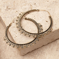 Filigree Trim Hoop Earrings