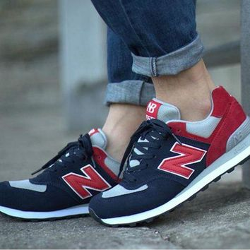 QIYIF new balance leisure shoes running shoes men s shoes for women s shoes couples n word dark blue red