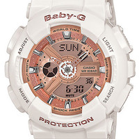Casio Baby-G Ladies White & Rose Gold-Tone Analog-Digital - Resin Case & Strap