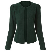 Blackish Green Long Sleeve Knitted Cardigan