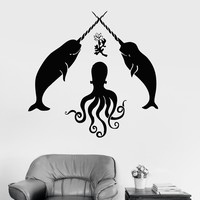Vinyl Wall Decal Octopus Marine Animals Bathroom Decoration Stickers Unique Gift (ig3220)