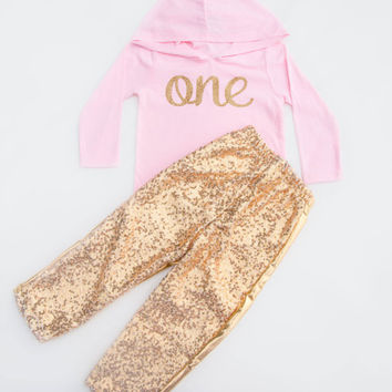Baby Girl First  Birthday Outfit | First Birthday Outfit  Pink and Gold First Birthday outfit | Gold sequin Pants | One Birthday Outfit