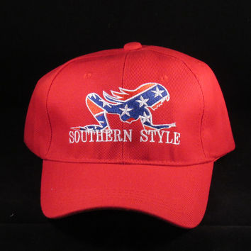 SOUTHERN STYLE REBEL BASEBALL HATS CAPS (Red)