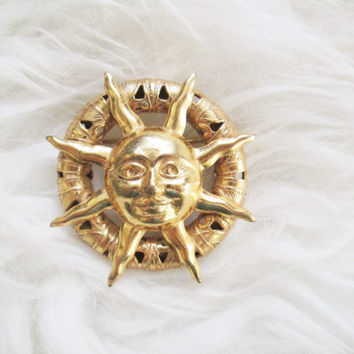 Vintage Gold Sun Miriam Haskell Signed Brooch