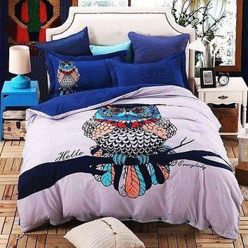 4pc. Owl  Queen King Size 100% Cotton Duvet Cover Bedding Set