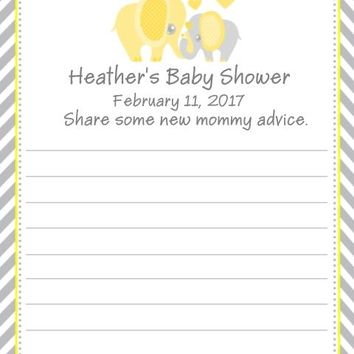 10 Yellow Elephant Baby Shower Advice Cards