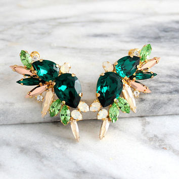 Emerald Earrings, Bridal Climbing Earrings, Emerald Ear Cuff Earrings, Bridal Climbing Earrings, Green Earrings, Swarovski Emerald Earrings