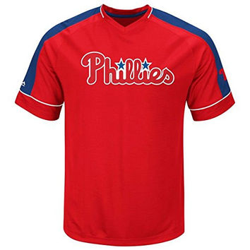 Philadelphia Phillies Majestic Lead Hitter Cool Base T-Shirt Jersey Size L
