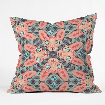 Chobopop Sphynx Cat Blue Pattern Throw Pillow