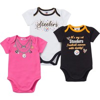 Pittsburgh Steelers 3-Pack Bodysuit Set - Baby Girl, Size: