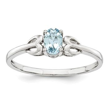 Sterling Silver Aquamarine March Birthstone Ring