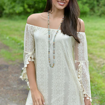 The Frill of It Off Shoulder Lace Dress