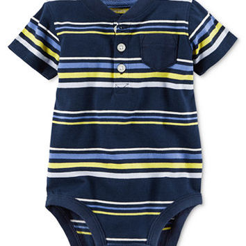 Carter's Striped Henley Bodysuit, Baby Boys (0-24 months) | macys.com
