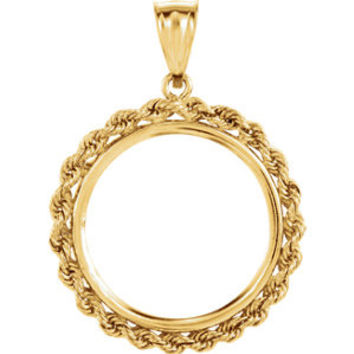 14K Yellow 22x1.8mm Tab Back 2.5mm Solid Rope Coin Frame Pendant for 1-4 Ounce American Eagle, 1-4 Ounce South African Rand, or 1-4 Ounce Chinese Panda
