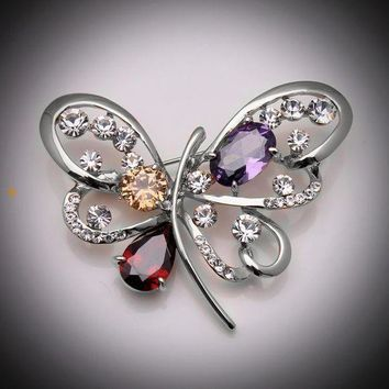 ONETOW Butterfly crystal brooch
