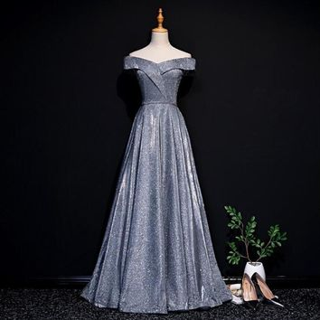 Silver Boat Neck Lace up Back A Line Short Sleeves Luxury Evening Dress